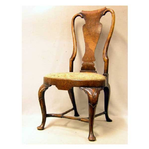 1079: Furniture - A set of five Queen Anne walnut dinin