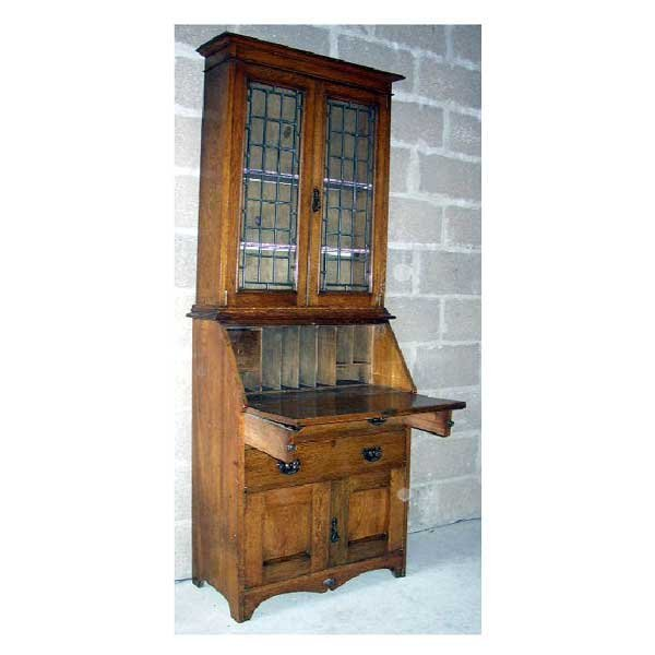 1121: Furniture - An art nouveau oak bureau bookcase, t