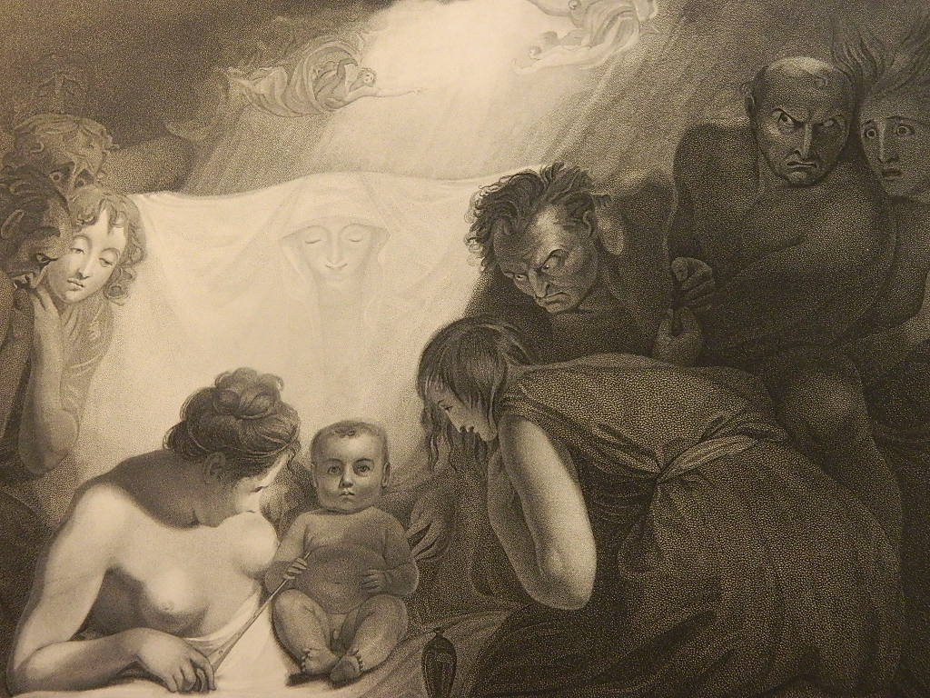 Very Old Baydell Etching Birth of Shakespear Lrg 22x15