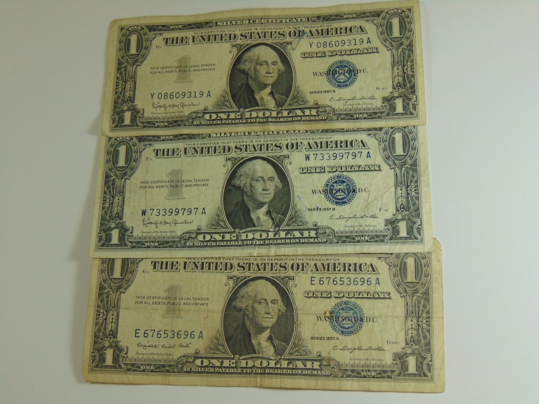 Lot of 3 1957 Blue Seal Silver Certificates