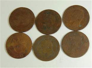 Lot of 6 Old Napoleon Coppers