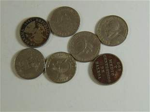 Lot of 7 Balboa, Panama World Coins