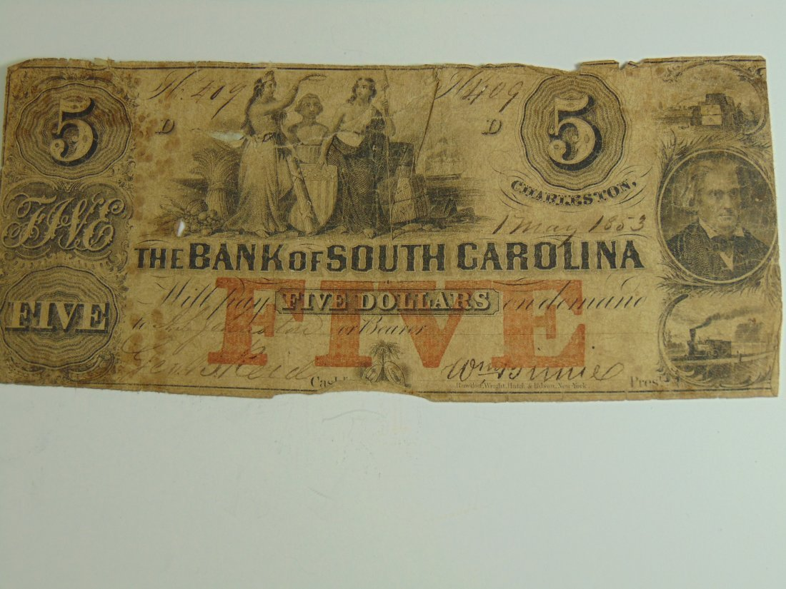 1853 South Carolina 5 Dollar Note