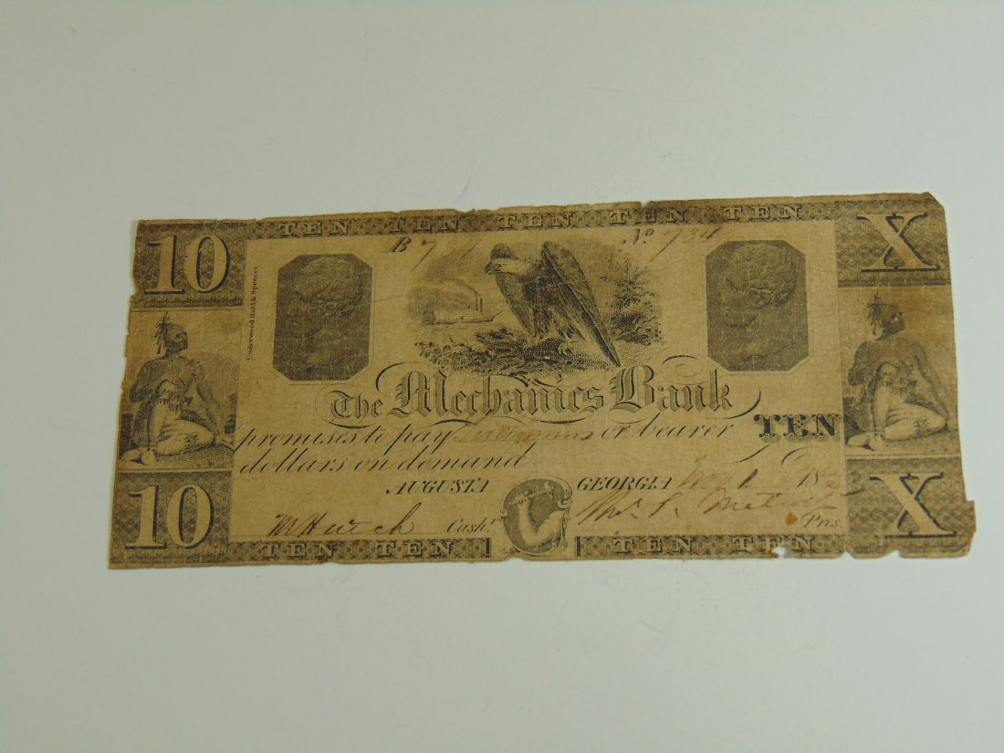 Agusta Georgia 10 Dollar Note, Mechanics Bank (1833?)