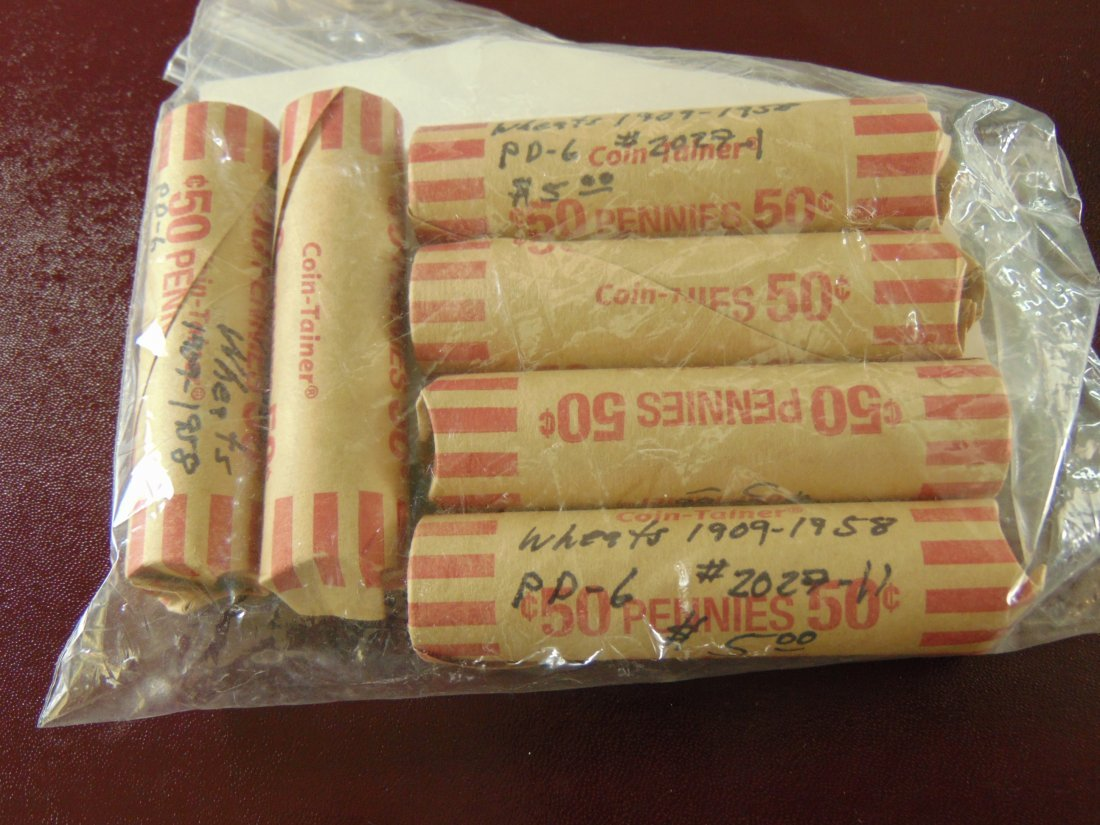 Lot of 6 Rolls  Wheat Cents 1909-1958