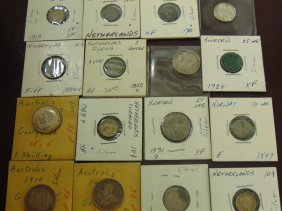 Lot Of 16 Silver World Coins; Sweden, Australia,