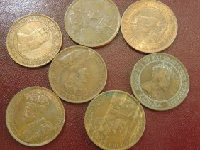 7 Large Cent Canadian Coins; 1920, 1910, 1916, 1914,