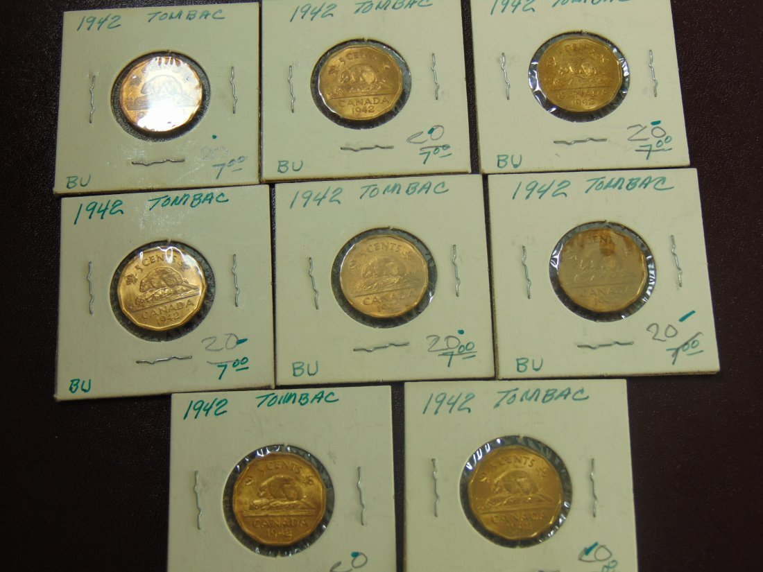 1942 Tombac Canadian BU, 8 Nice Coins