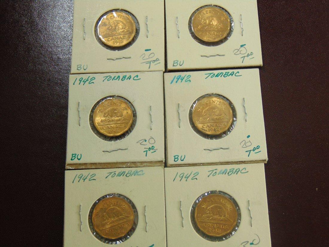 1942 Tobac Canadian BU, 6 nice Coins
