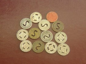 Lot Of 13 Transit Tokens; Red Point, Railway,