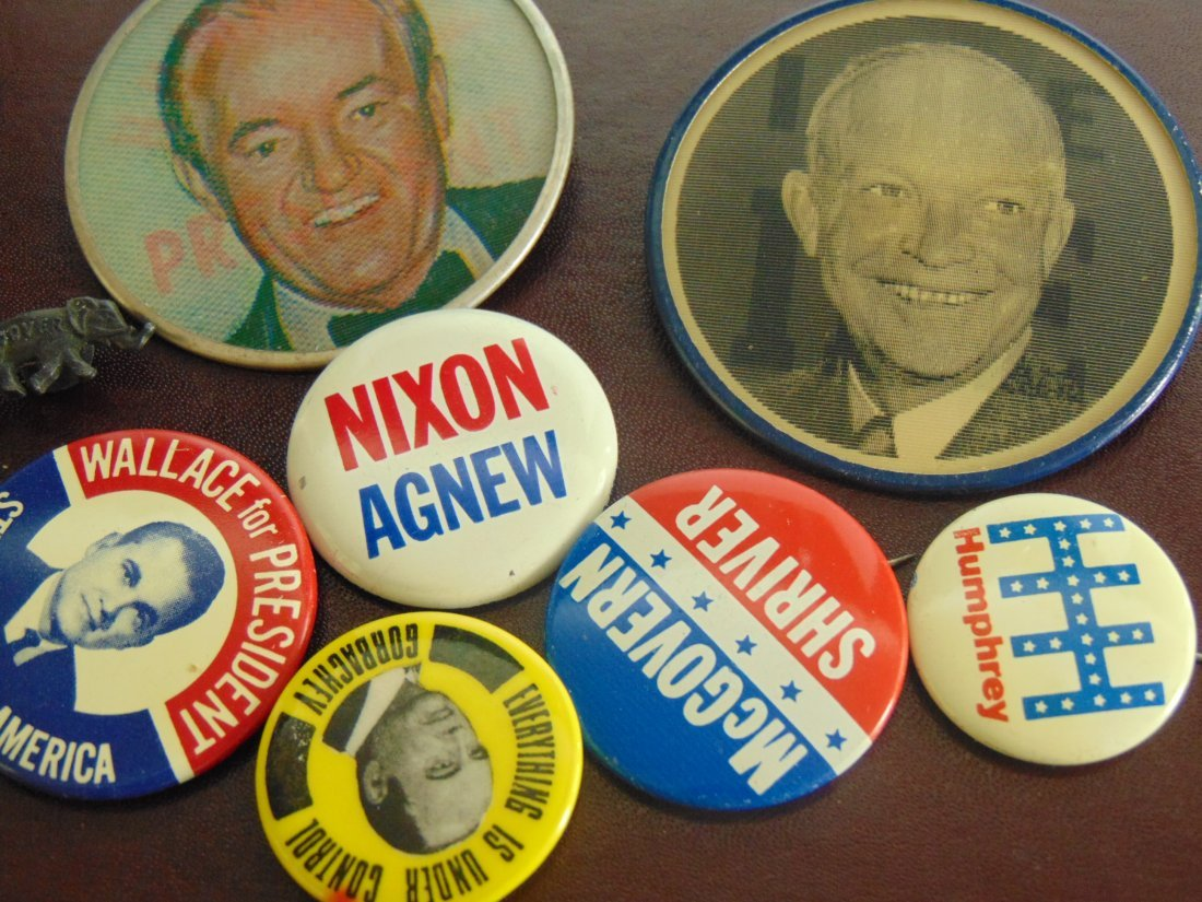 Old Lot of Political Buttons, including 2 Large