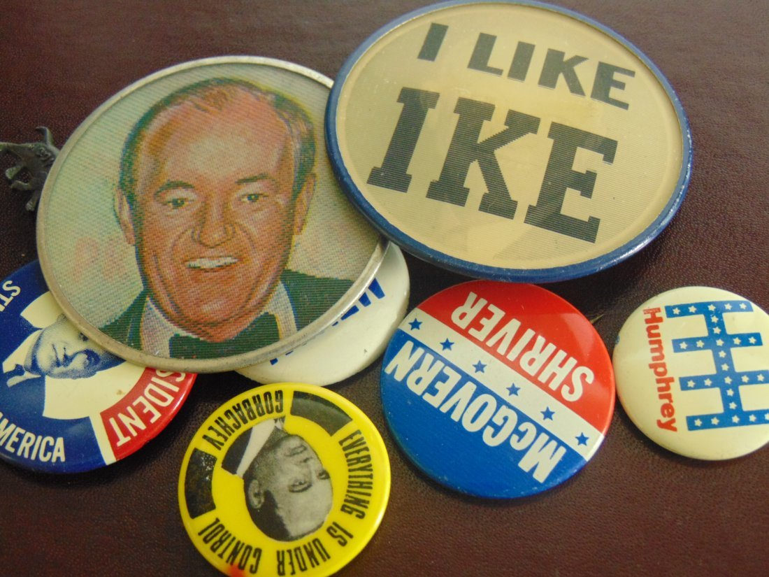 Old Lot of Political Buttons, including 2 Large - 2