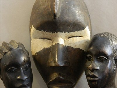 Ivory Coast Dan Mask and Two Hand Carved Busts