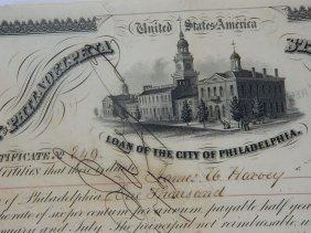 1875 Original City Of Philadelpia Stock Certificate
