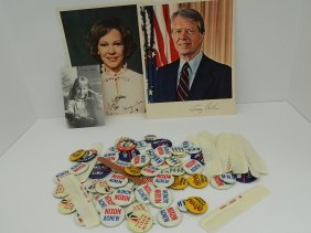 Carter Family Photos, Signed. Political Buttons Lot