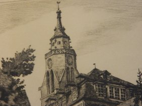German Bach Etching Steeple
