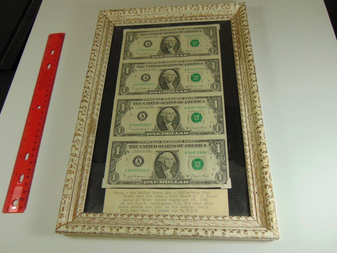 1981 $1.00 Quarter cut Sheet 4 Bills