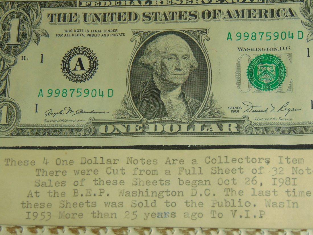 1981 $1.00 Quarter cut Sheet 4 Bills - 2