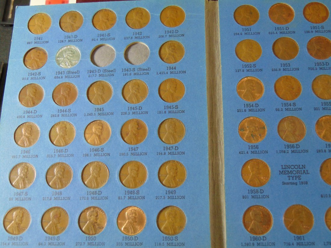Lincoln Cent Full Book starting 1941, missing 1943D,