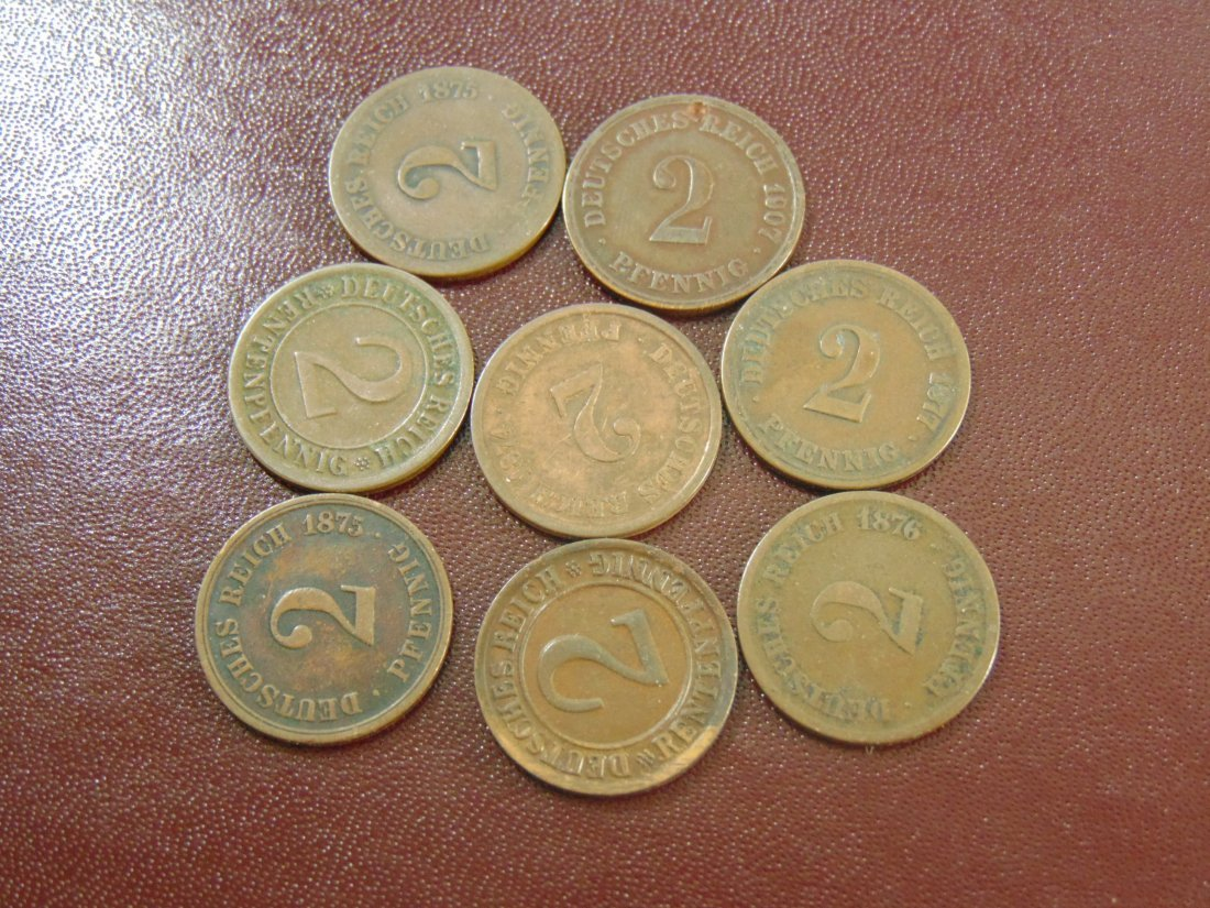 8 German  2 P Fenning;  1874,1875, 1877, 1907, 1876,