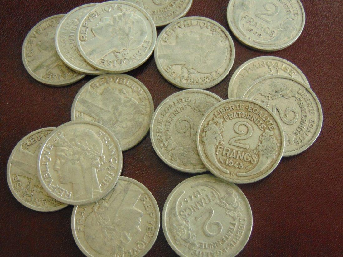 Lot of 16, (2) Francs Aluminum World Coins 1940's