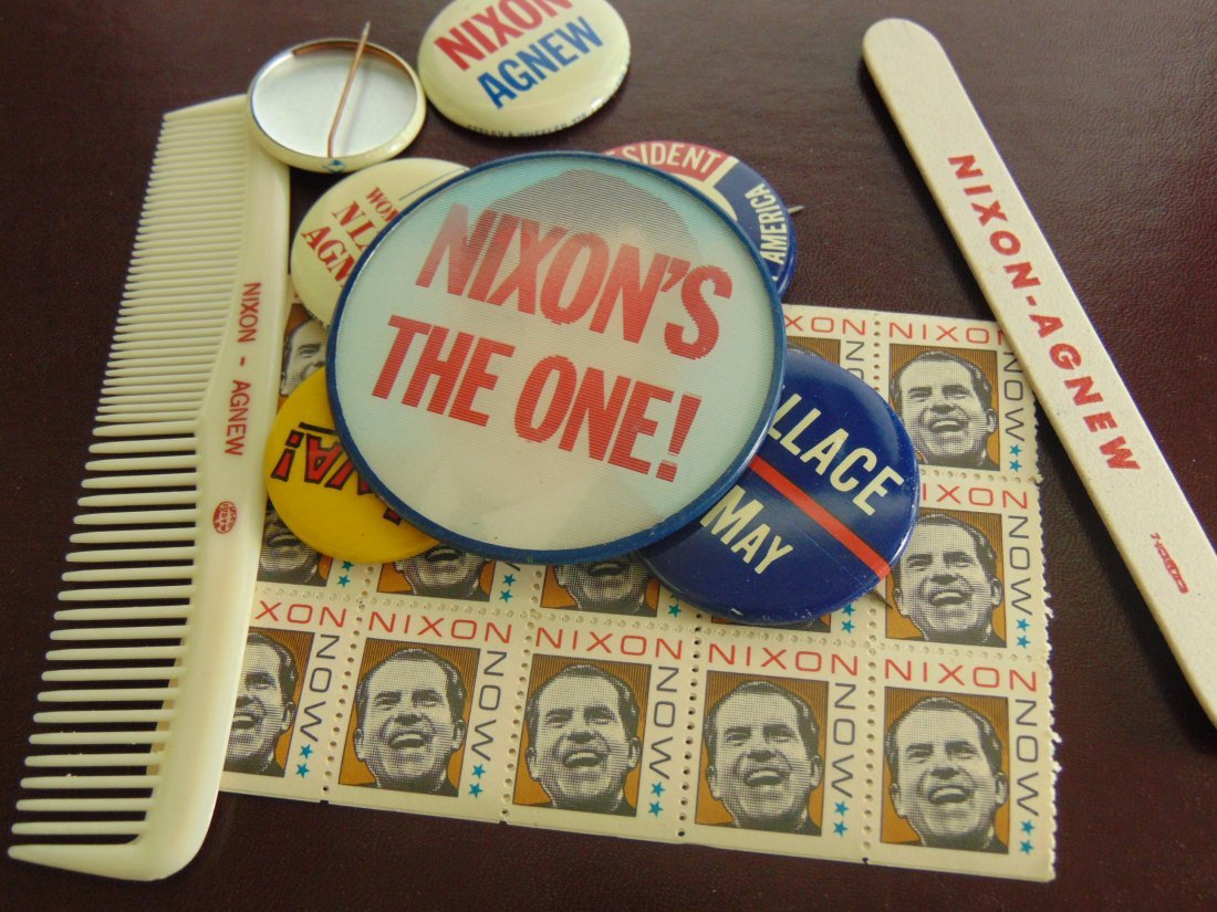 Lot of Political Buttons, Nixon Stamps, Comb, File,