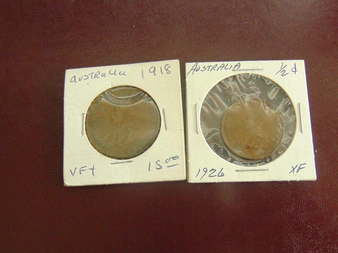 Lot of 2 Australian Coins, 1918, 1926