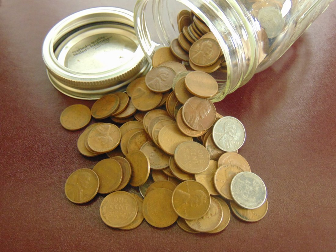 Ball Jar with Wheat cents