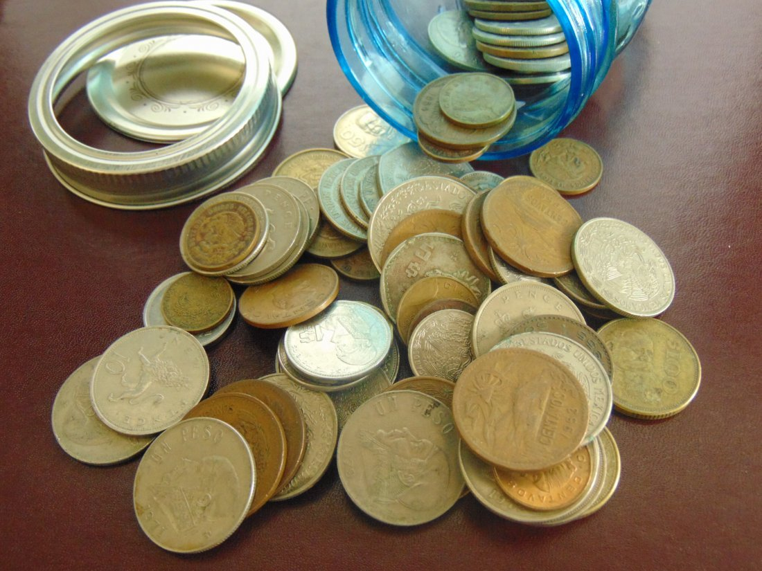 Ball Jar with Old Mexico Coins