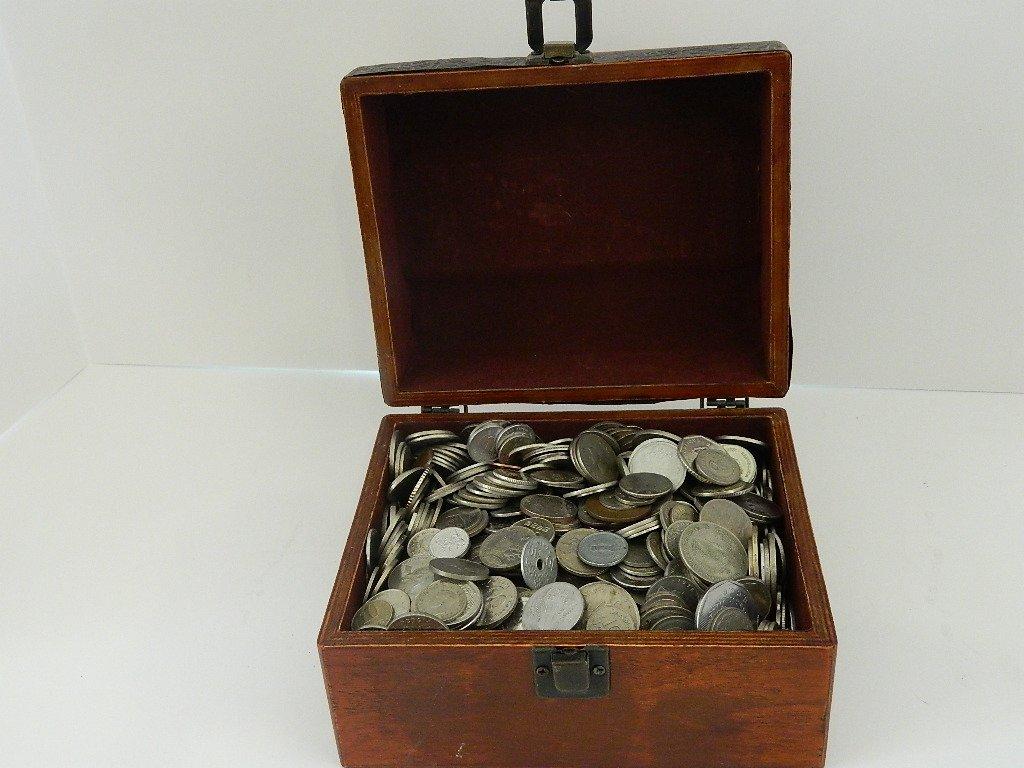 12 Pounds World Coins with Cigar Box. Huge Assortment