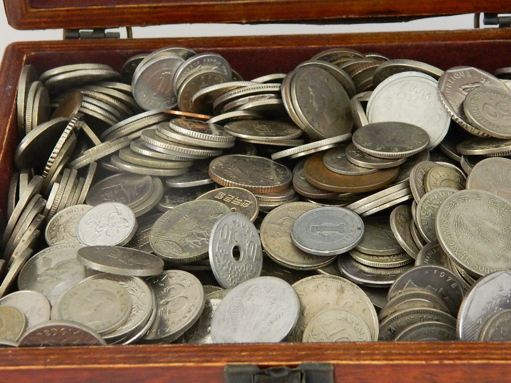 12 Pounds World Coins with Cigar Box. Huge Assortment - 2
