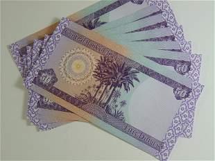 10EA 50 Dinar Notes Mint