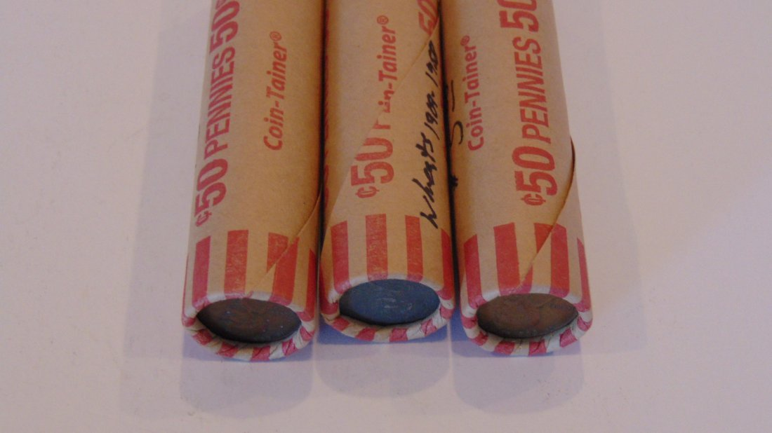3 Rolls Wheat Cents From 1909-1958 Mixed