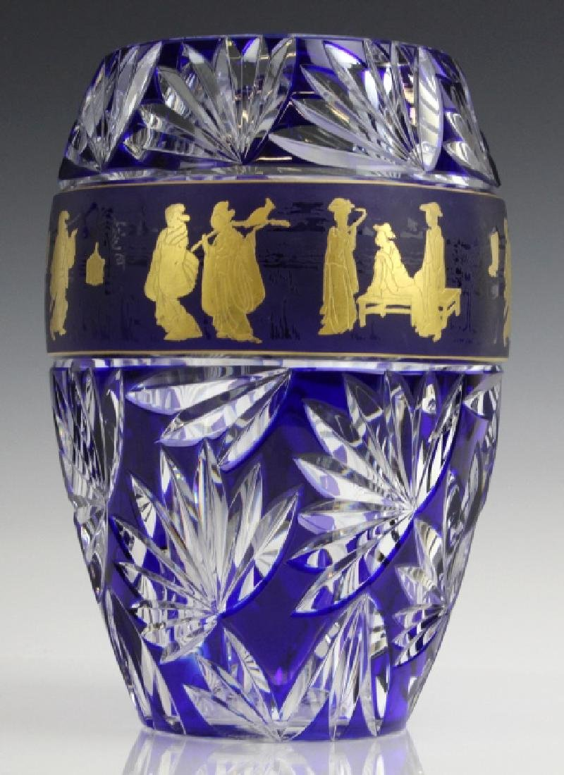 VAL ST LAMBERT COBALT CUT TO CLEAR CHINOISERIE VASE