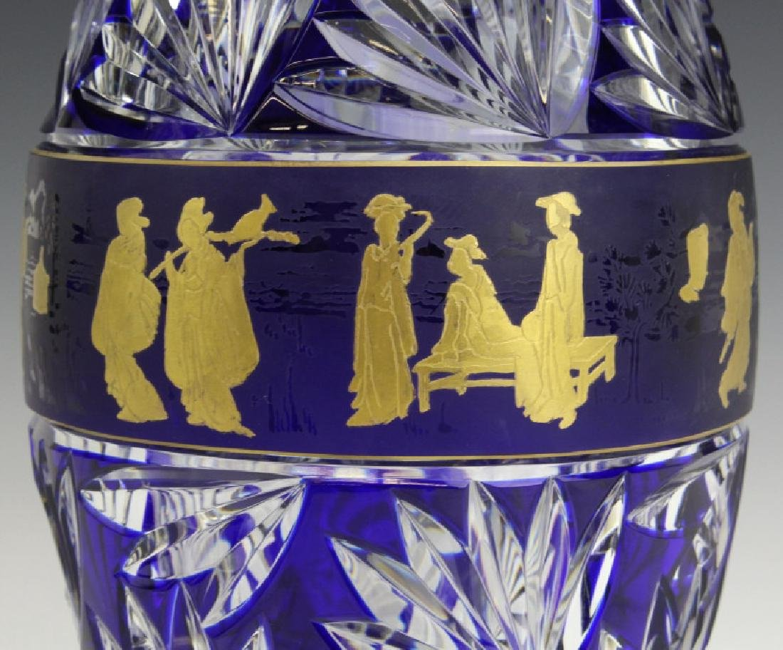VAL ST LAMBERT COBALT CUT TO CLEAR CHINOISERIE VASE - 2
