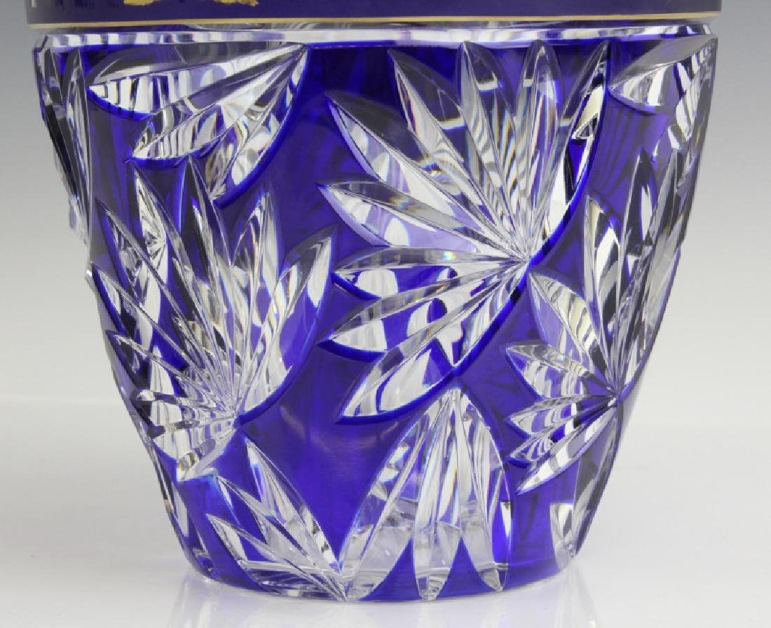 VAL ST LAMBERT COBALT CUT TO CLEAR CHINOISERIE VASE - 4