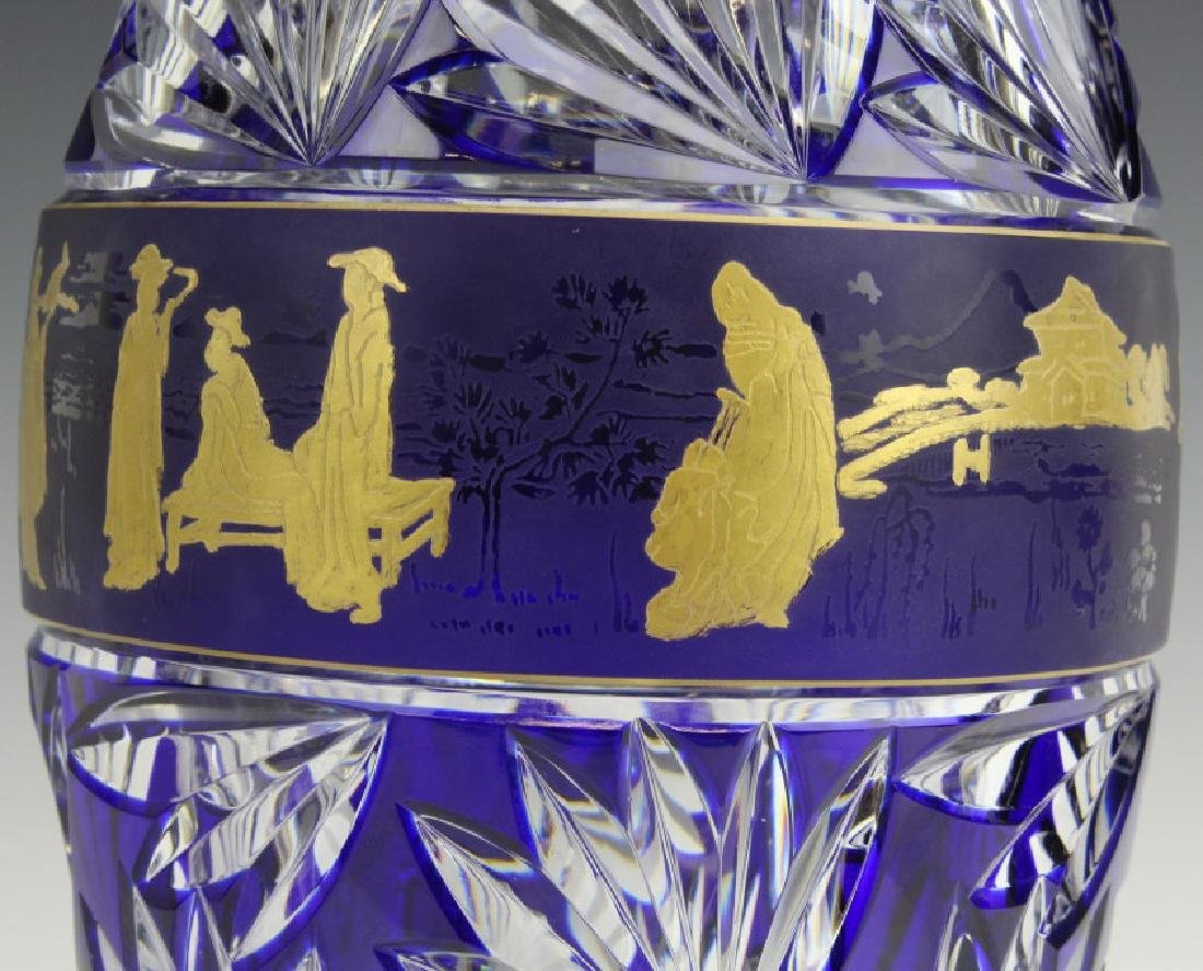 VAL ST LAMBERT COBALT CUT TO CLEAR CHINOISERIE VASE - 5