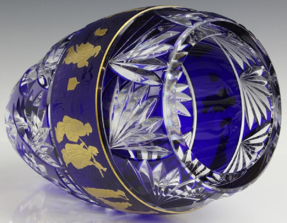 VAL ST LAMBERT COBALT CUT TO CLEAR CHINOISERIE VASE - 6