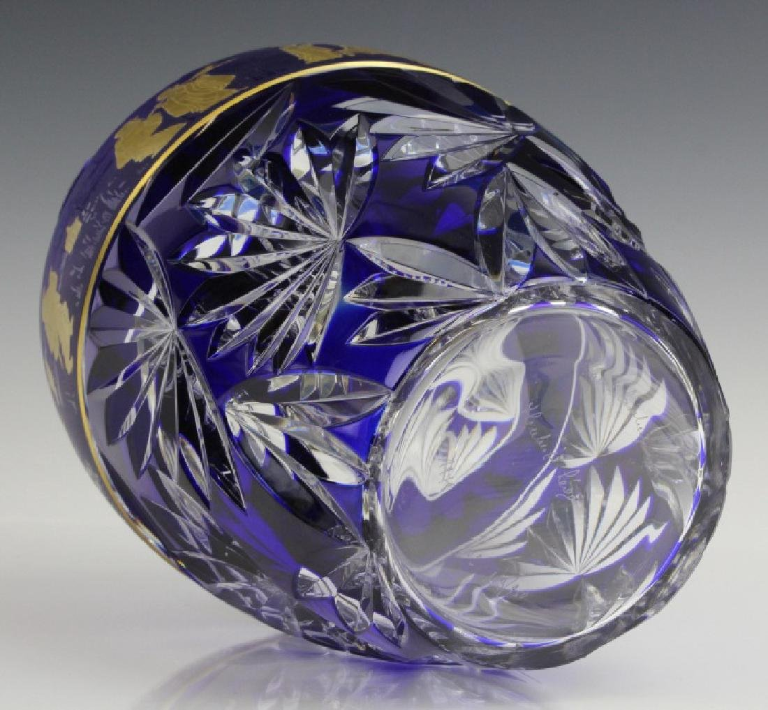 VAL ST LAMBERT COBALT CUT TO CLEAR CHINOISERIE VASE - 7