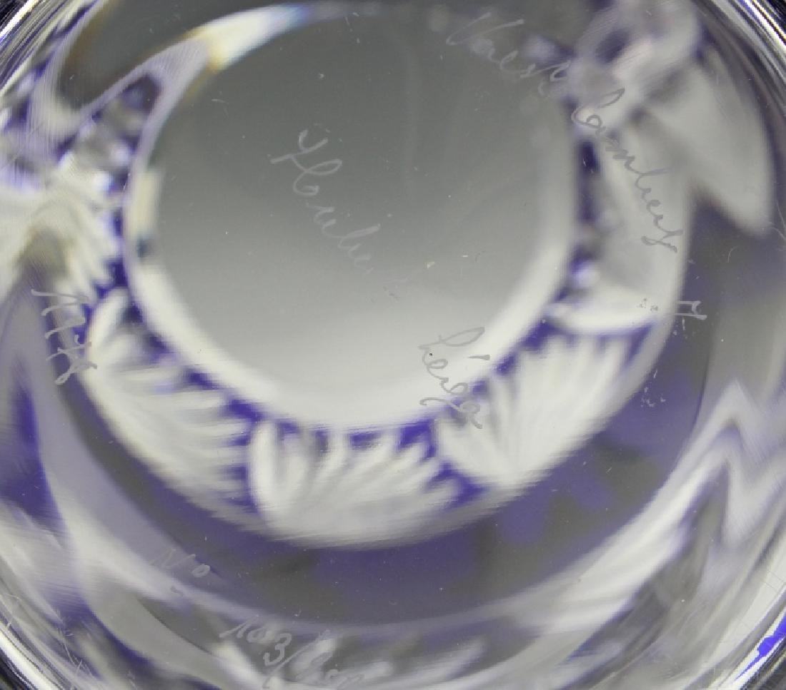 VAL ST LAMBERT COBALT CUT TO CLEAR CHINOISERIE VASE - 8