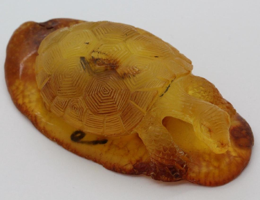 Natural Baltic Honey Amber Carved Turtle Figurine 21.1g - 4