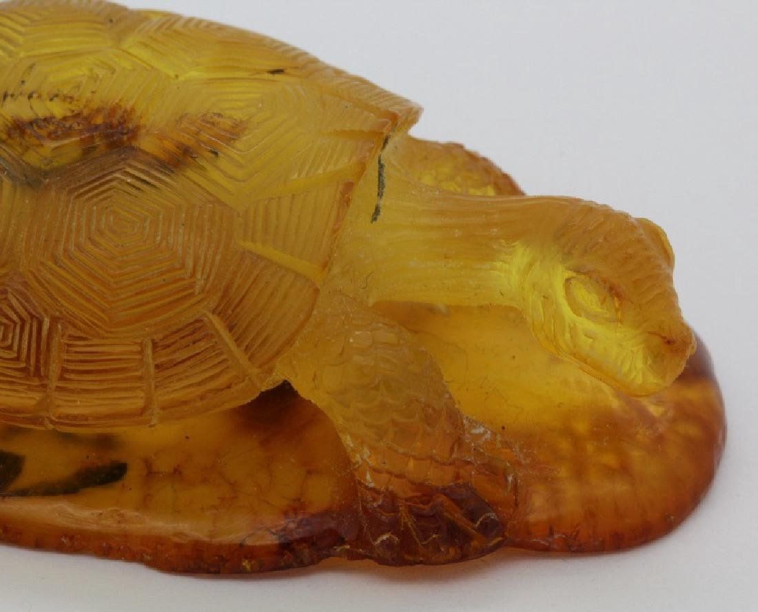 Natural Baltic Honey Amber Carved Turtle Figurine 21.1g - 6