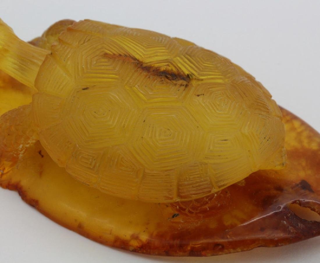 Natural Baltic Honey Amber Carved Turtle Figurine 21.1g - 7