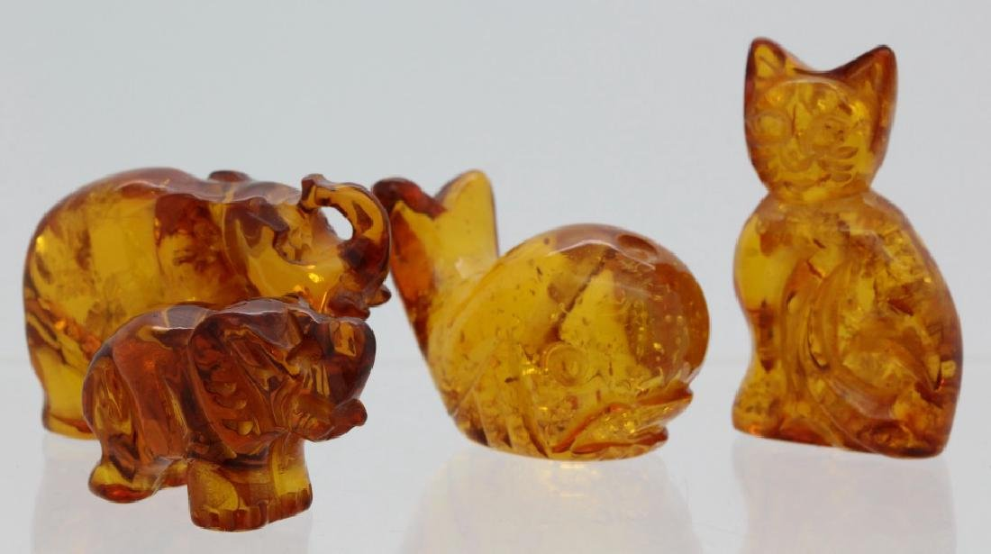 7 x Baltic Honey Amber Bear Cat Owl Whale Snail Statue - 2