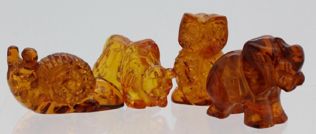 7 x Baltic Honey Amber Bear Cat Owl Whale Snail Statue - 3