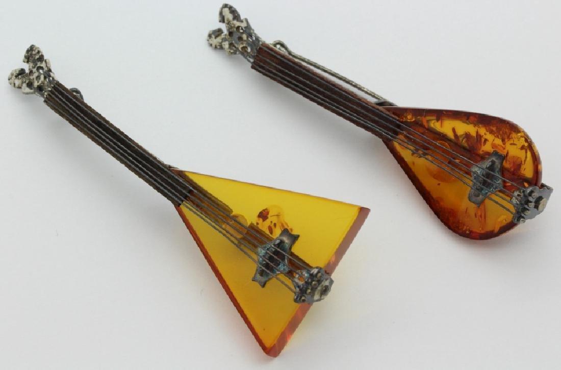 2 Sterling Silver Baltic Amber String Instrument Brooch