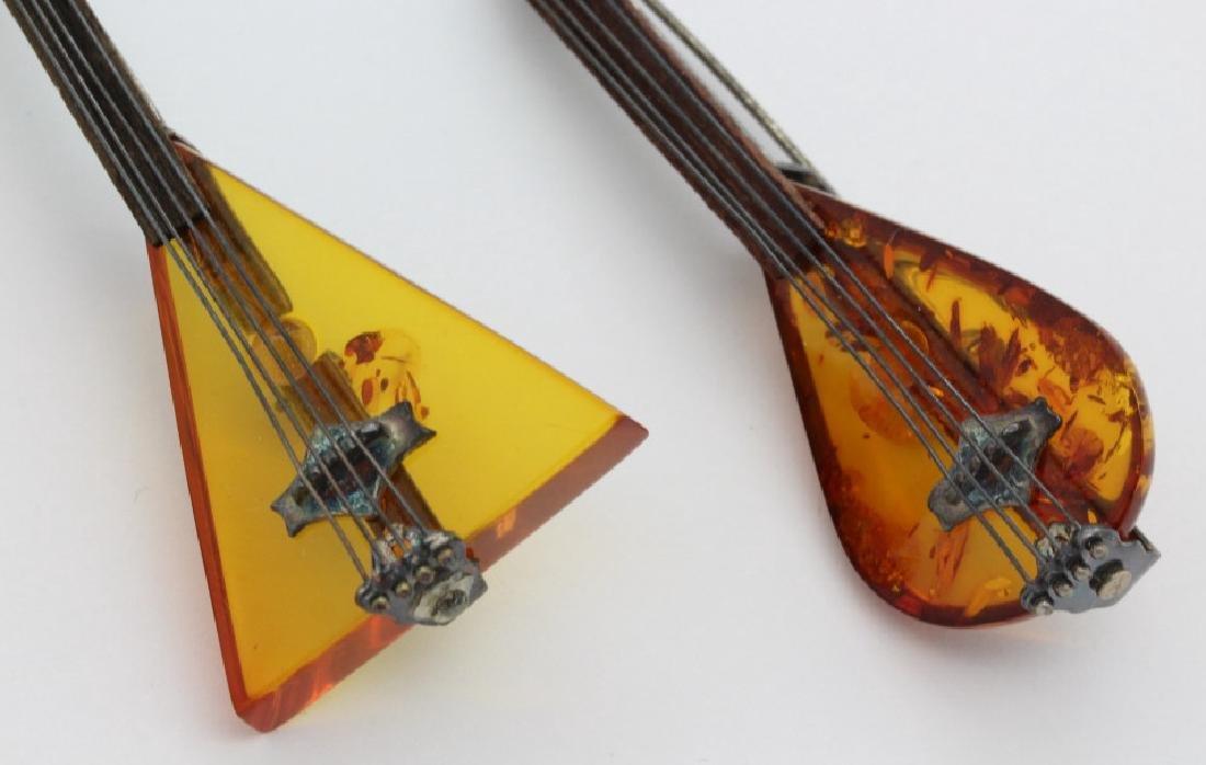 2 Sterling Silver Baltic Amber String Instrument Brooch - 2