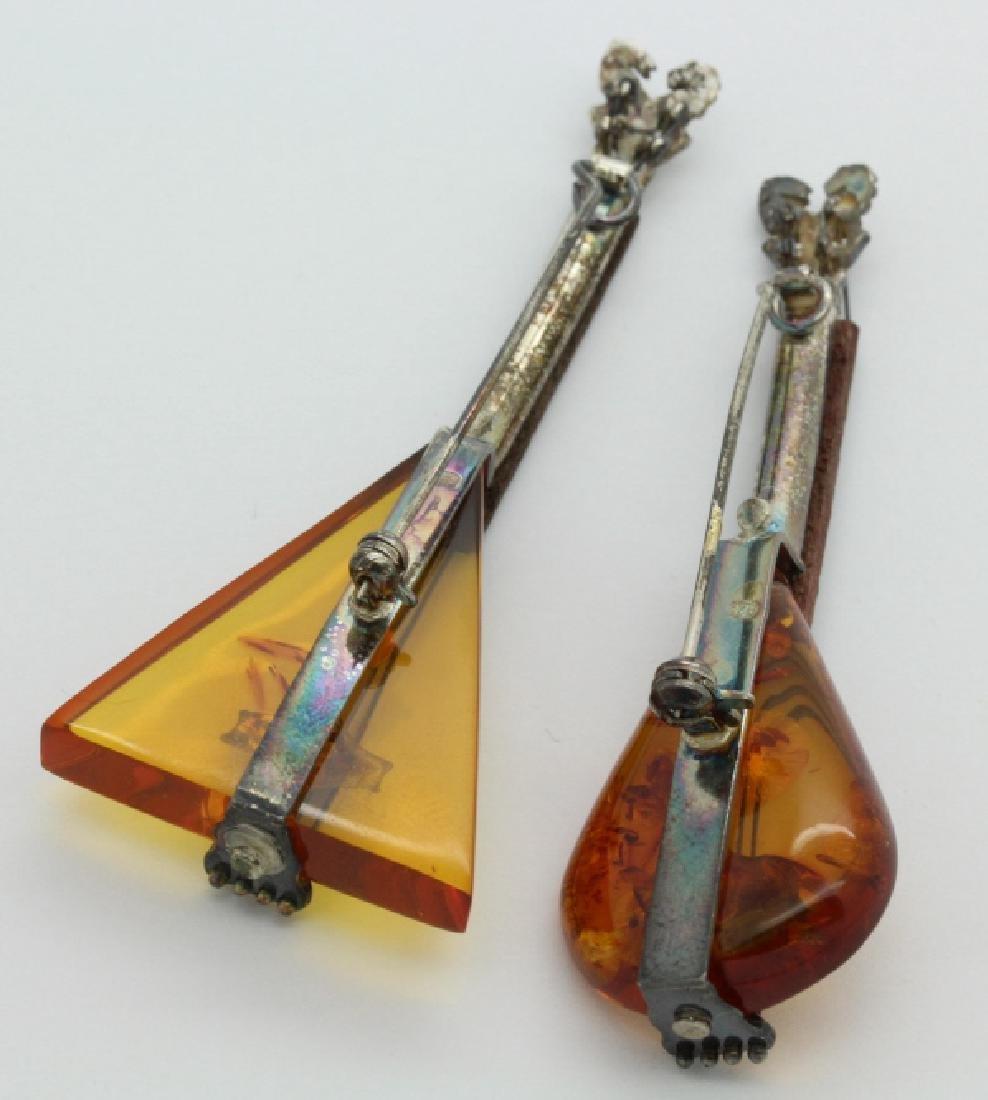 2 Sterling Silver Baltic Amber String Instrument Brooch - 3