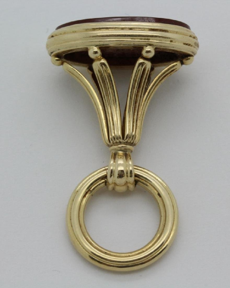 14k Gold Victorian Seal Pocket Watch Fob Charm Pendant - 2
