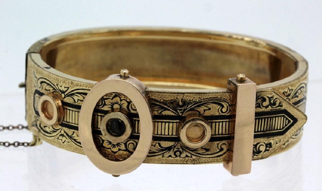 Victorian Gold Filled & Enamel Buckle Bangle Bracelet